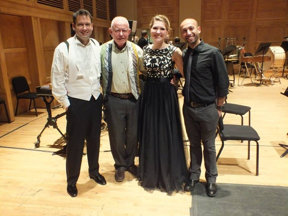 Maestro Robert Moody, composer David Del Tredici, Margaret Haigh, and choreographer Roberto Forleo   Photo copyright Angellos Malefakis