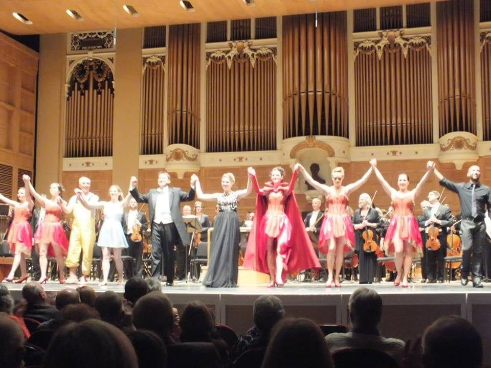 "Final bows in Portland after David Del Tredici's ""An Alice Symphony""  Photo copyright Angellos Malefakis"