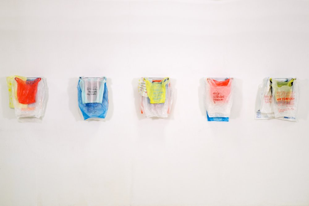 Made at University of Texas at El Paso in bricolage(assemblage)/mixed media, embroidered found plastic bags hanging on grocery store plastic bag dispensers, 10x2 feet, 2016.