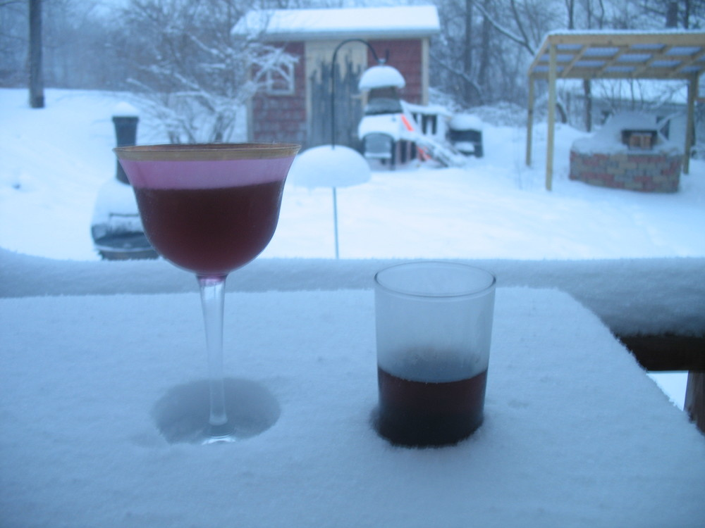 Untitled left, As Wine Stands Time right (recommended for dealing with snow this late in March)
