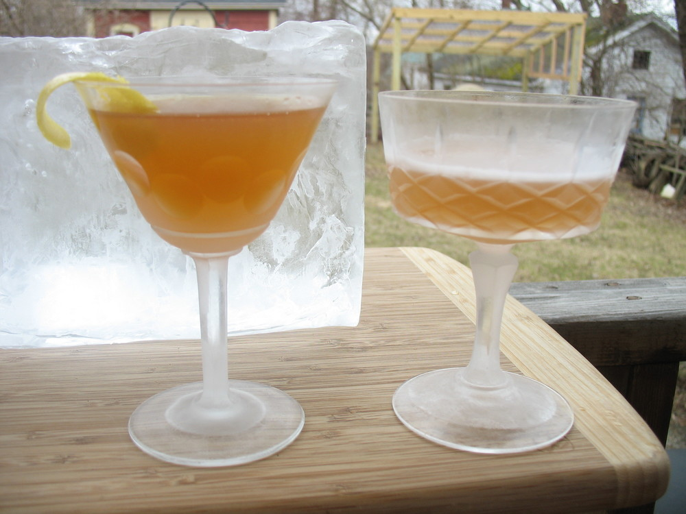 Rum, tea and lemon...oh my. Lioness (Of Brittany) at left, Two Worlds Sour on the right