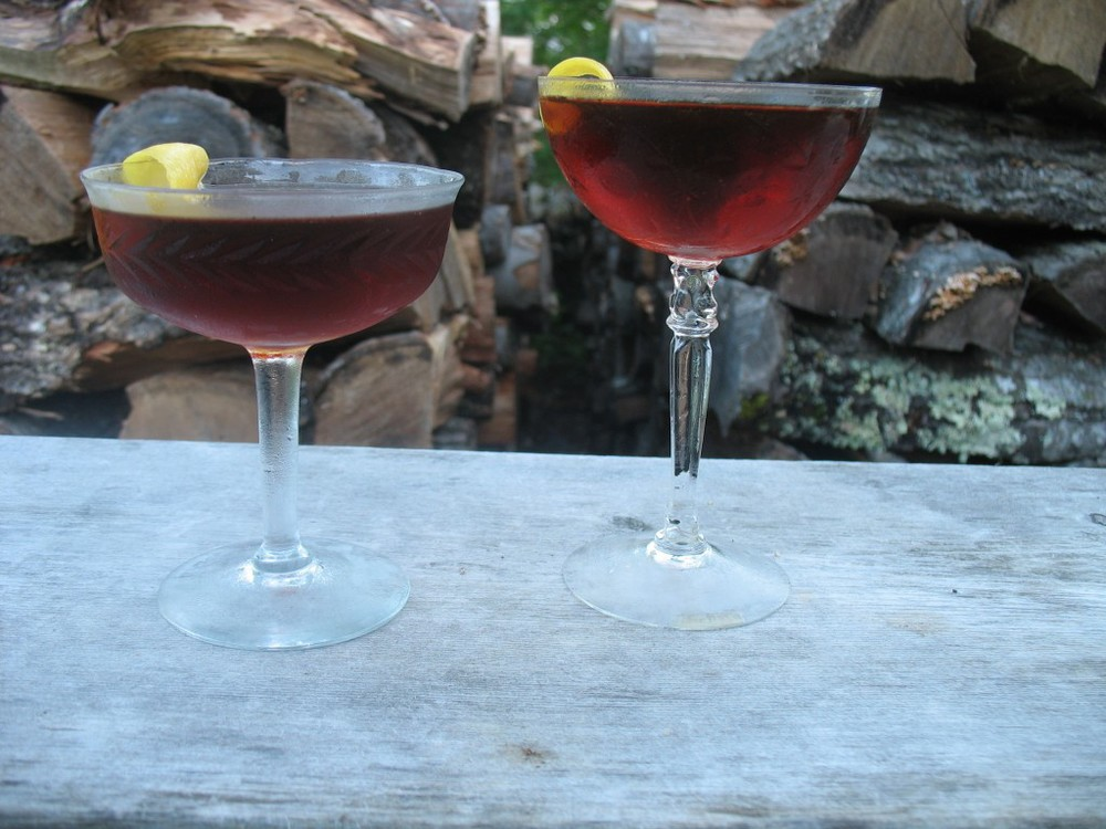 Martinez style riff with 'Cynar What I Mean' base using Tanqueray Malacca,left and Beefeater 24, right.