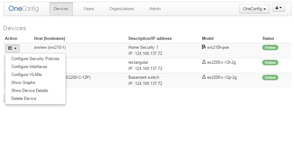 oneCOnfig Dashboard View