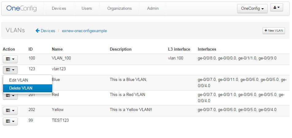 VLAN Management view