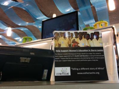 Esther's Echo Donation Box at Simon Fraser University's Dining Hall