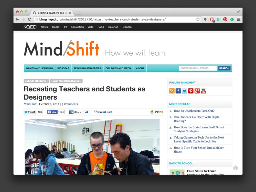 KQED - Mindshift - 2012