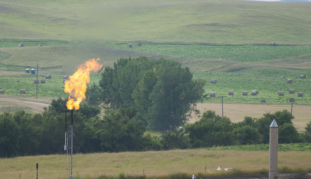 Gas flare, Bakken Shale, ND