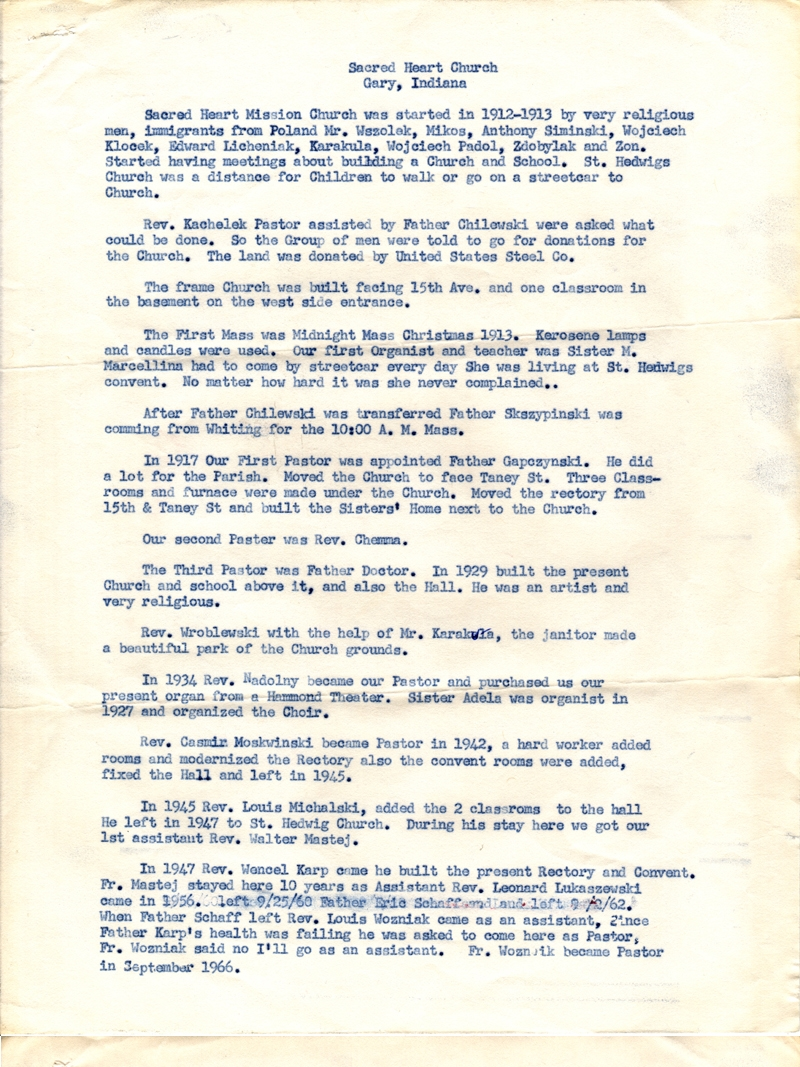 1944 mimeograph of the history of Sacred Heart Roman Catholic Church, Gary Indiana, written by Cecilia Jasiak. Photo:  Sacred Heart Catholic Church