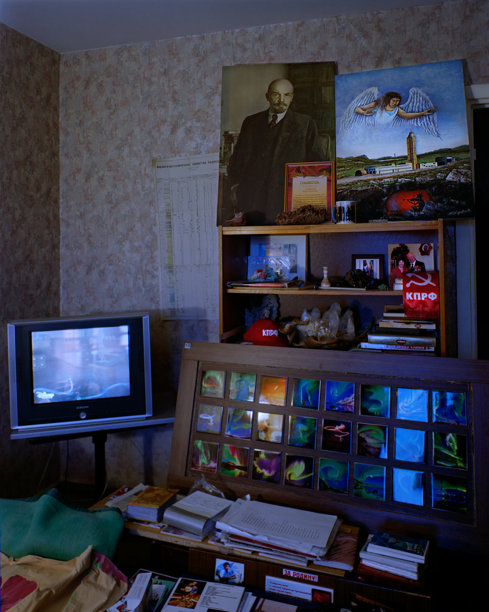Smirnov's living room, furnished with displays of geological ephemera he had collected for the museum he dreamed of dedicating to the borehole.