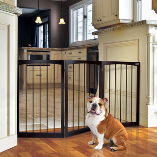 Baby gates are great ways for dogs to see, smell, and hear each other without having a chance to interact physically.  Photo courtesy of overstock.com
