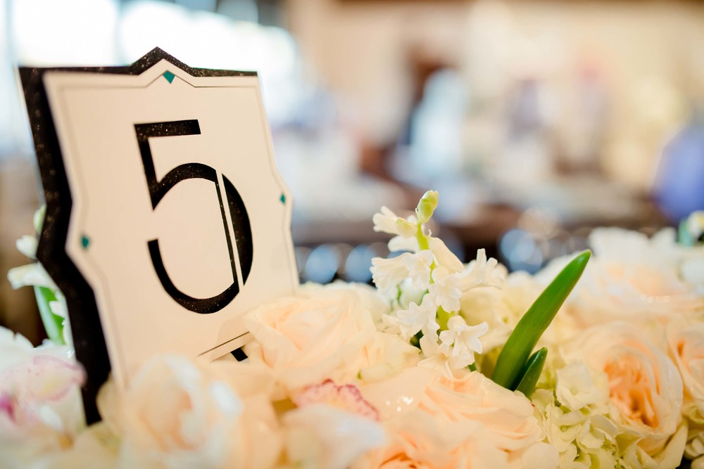 Metallic and black glitter art deco table number for A Modern Proposal Event Planning