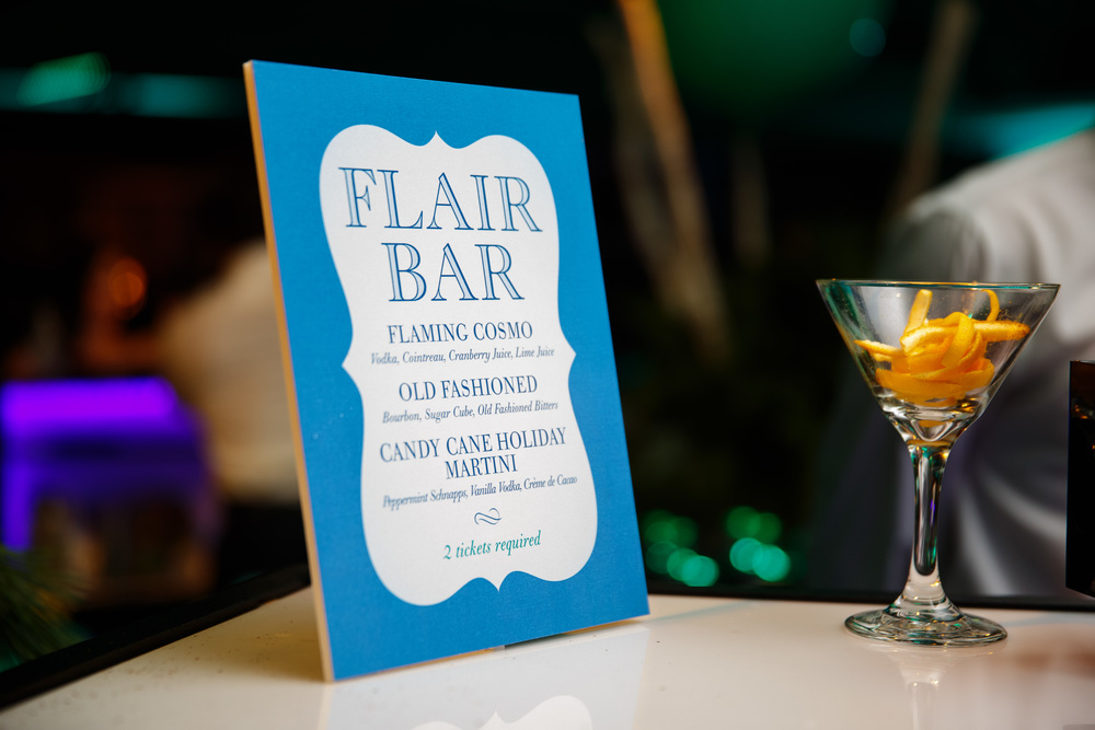 Flair bar menu.