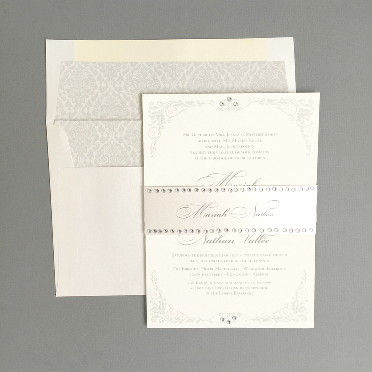 Top 10 2015 wedding invitations part 1 edmonton wedding the luxurious nature of the suite was exemplified by the addition of embossing to the decorative elements on the invitation solutioingenieria
