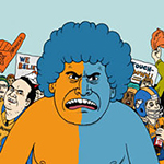 Noah Van Sciver illustrates an article for the Westword explaining the different types of Broncos fans.