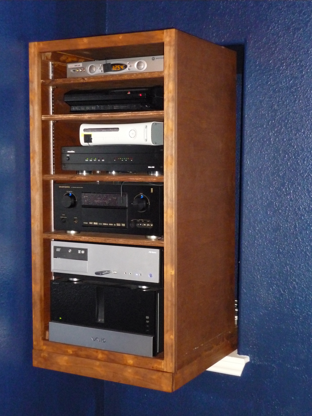 custom wood audio video equipment rack in media room 2