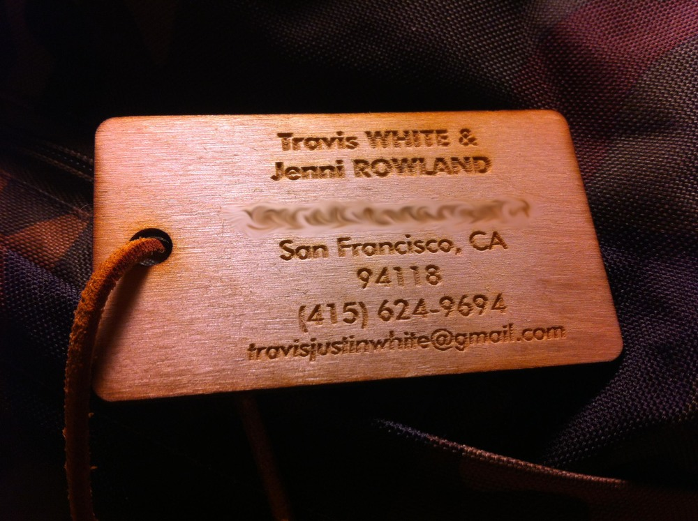 Travis and Jenni's luggage tag.