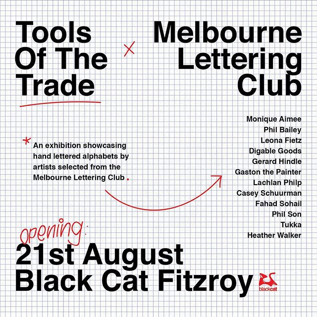 🌐 I've put together a group show of @melbourneletteringclub artists.  Each artist was asked to create a unique hand-lettered alphabet with their chisel tool of preference. Come check out these gorgeous posters and have a beer with yours truly.  Opening tonight from 6:30 PM at @blackcatfitzroy , with the legends @bodriggybrewingco sorting out the bevs. ❤️ . . . . . #lettering #melbourne #exhibition #show #calligraphy #letters #alphabet #art #type #typography #typedesign #posters