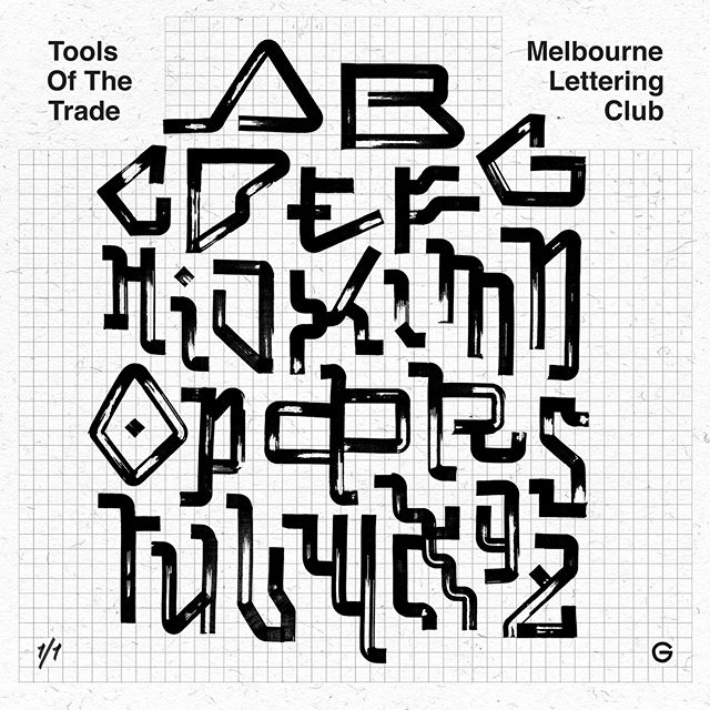 'Auto Pilot' - my experimental alphabet from last night's show. Pulled these off with a .5 Pilot Parallel pen. Swipe through for a closer, textured look to these bladerunner styled letters. Only a couple posters left if you'd like a specimen hit me up. #type #typedesign #typespecimen #typography #lettering #letters #alphabet #melbourne #letterdesign #chisel