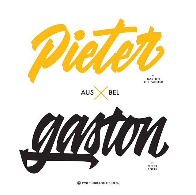 ⚡️Earlier this week two killer designers @anteronuutinen & @kirillrichert launched a lettering collabo just to flex their type muscles 💪🏼 I'll jump at any excuse for showing off some handstyles - So got my bro @pieterboels on board to start off with a bang 💥 here's our Brollabo, Australia x Belgium. Thanks for starting this challenge guys. ✌🏼 — G • • • • • #lettering #type #typography #calligraphy #letters #handstyle #signpainting #script #brushscript #vectors #melbourne #antwerp #cursive #handwriting #brush #logo