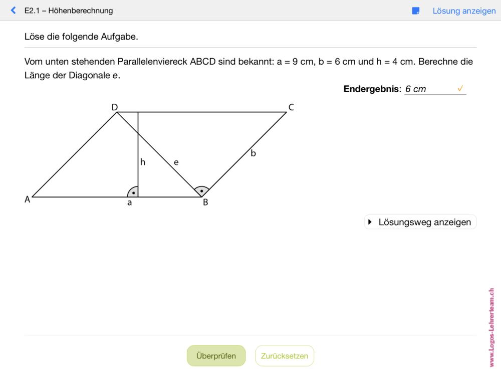 Berechnungsaufgabe zu einer geometrischen Figur
