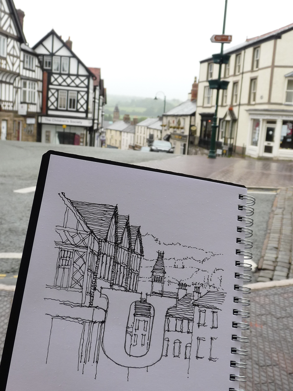 Drawing on Ruthin, a sketching day with local artists