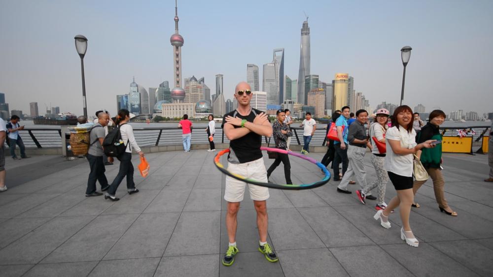 """Mr dod filming Powerhoop """"Secret"""" video. Music by Sophia Syndicate on iTunes in Shanghai (The Bund) May 2014"""