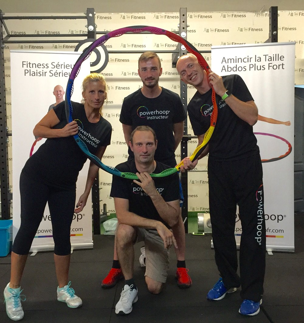 3 lucky new Powerhoop instructors ready to launch classes in Septembre!