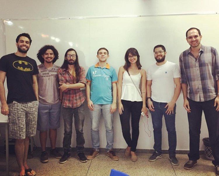 Primeiro encontro do GEFAT em 29 de setembro de 2016: Rafael Freitas, Victor Vinícius, João Espíndola, Matheus Bolentine, Thaynara Souza, Victor Hugo e Rodrigo Cássio