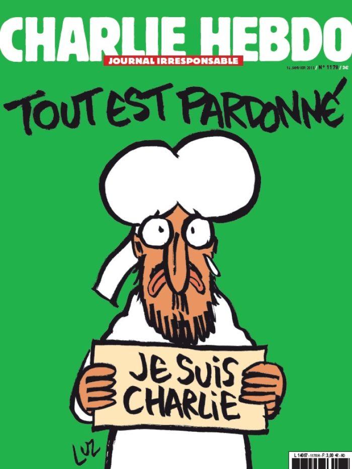 Capa da primeira edição posterior ao massacre na redação da revista Charlie Hebdo em 2015