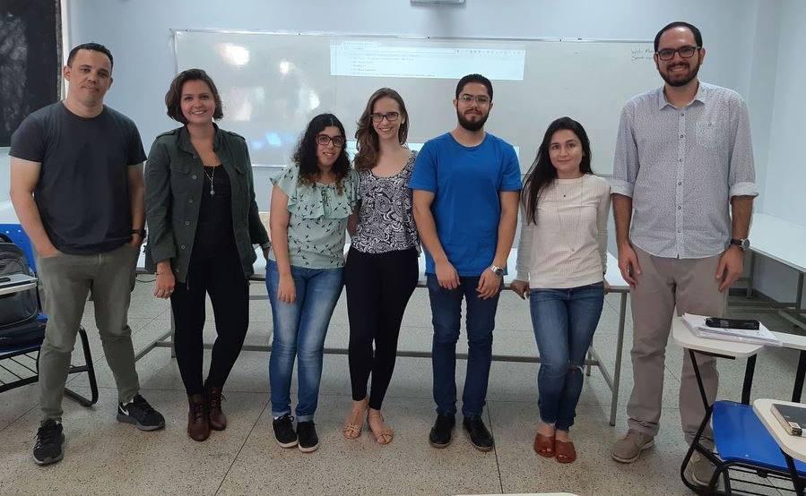 Abril de 2018: Marcilon Almeida, Ana Carolina Cruz, Natália Dias, Ana Júlia Carrijo, Victor Hugo, Isadora Ribeiro Caetano e Rodrigo Cássio