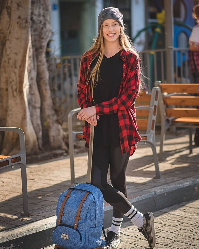 TLV style #onlocation #photography #kalgav #beautifull #hipster #youth #urban #backpack #fashion #blonde #plaidshirt
