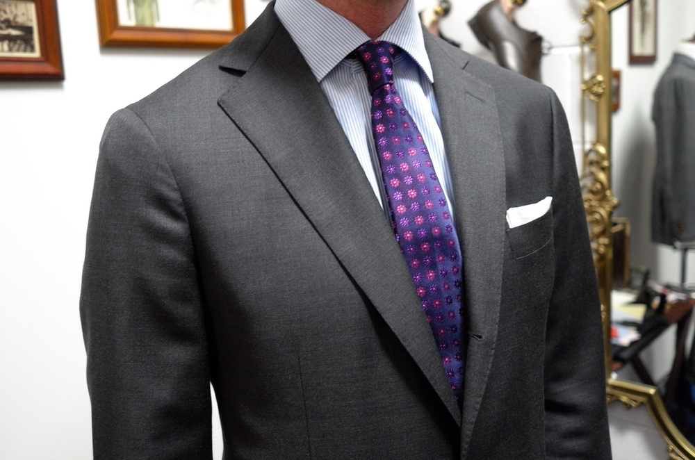 Customer Fitting with Grey Twill Suit