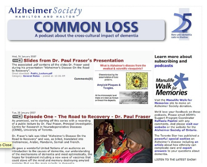 The Common Loss podcast - developed for the Alzheimer Society of Ontario.