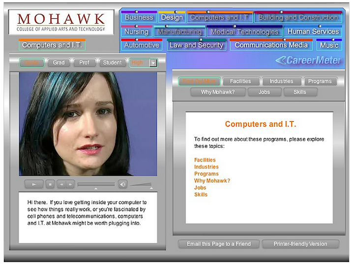 The CareerMeter - developed in Flash for Mohawk College.
