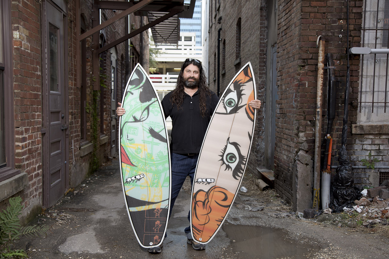Surfboard design by Artist Mark George.  Click here  to see more of his work.