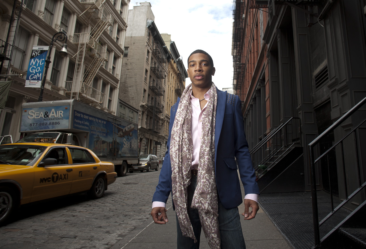 Steinway Artist,   Christian Sands.   Soho street shoot, NYC.