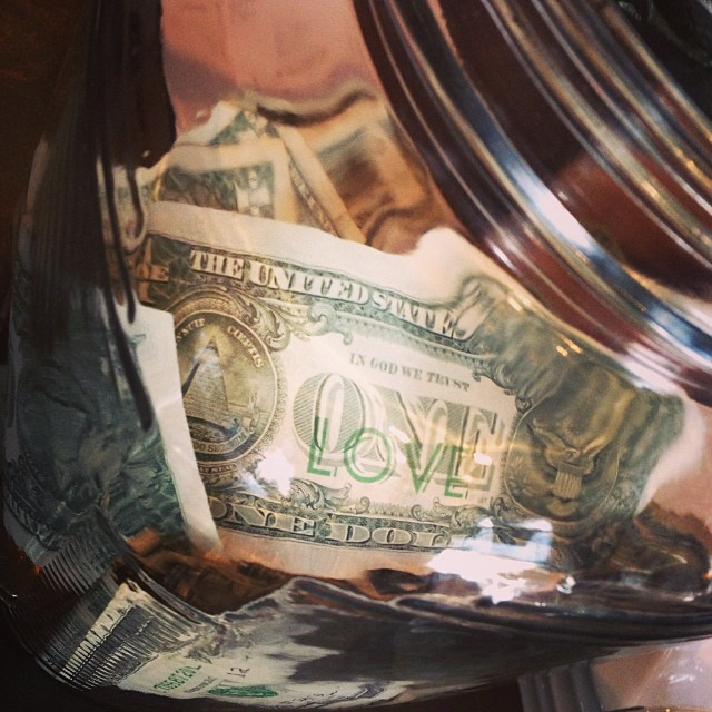 'One Love' bill, @boldbeancoffee tip jar. #onelove #dollarart #dollar #coffee #money