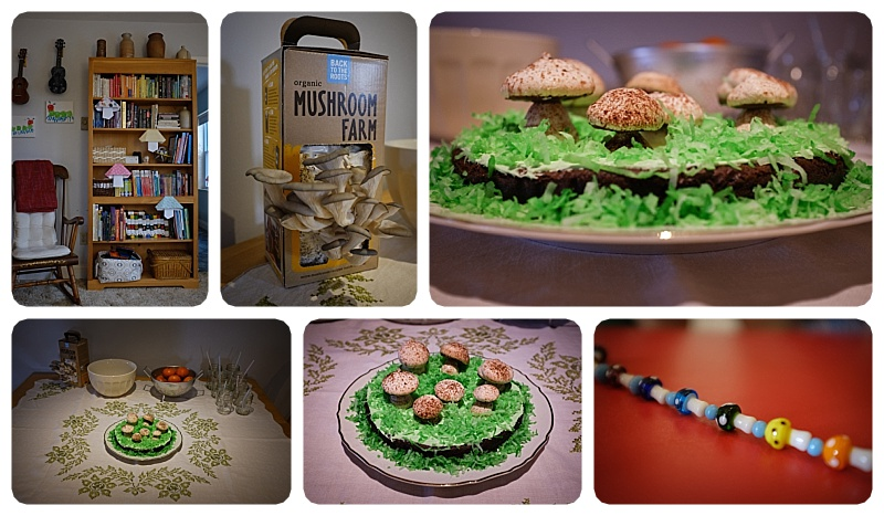 Our party theme ended up incorporating: Mushroom Origami Decorations, Mushroom Farm Centerpiece,  mushroom bead craft and of course Meringue Mushroom Birthday Cake!