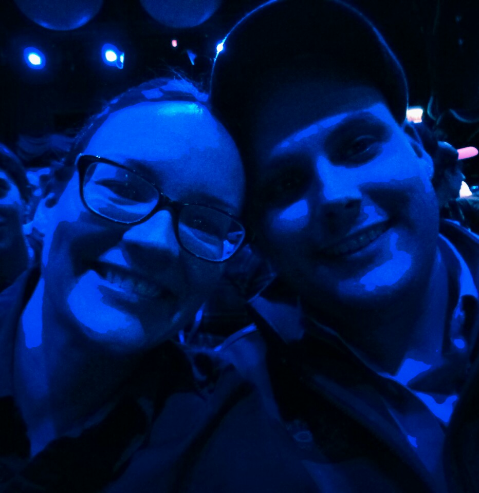 Audience selfie with hubby at Briar Street Theater before Blue Man Group!