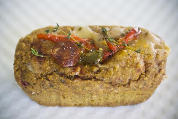 Gluten-Free Desayuno with chorizo, sun dried tomatoes, pepper jack cheese, mozzarella and sage.