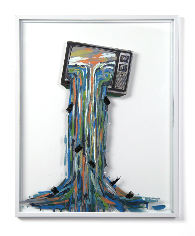The Pathologies of Tyranny , 2013, enamel, silver nitrate and collage on glass