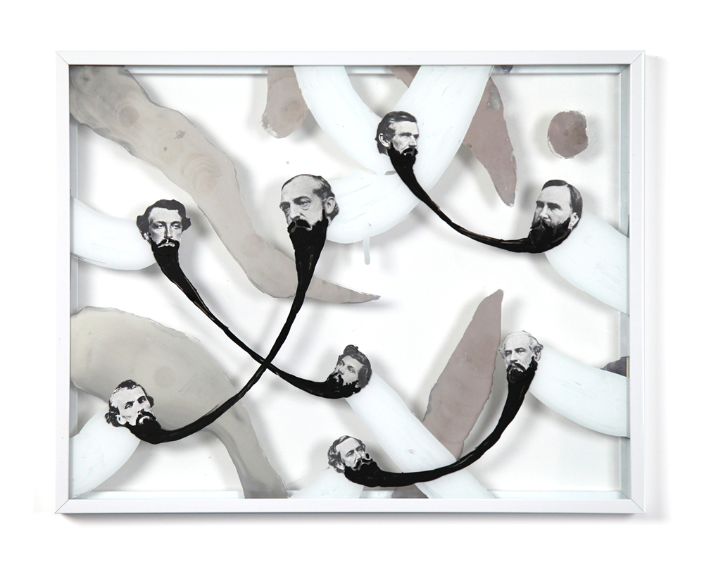 Barbarians 1 , 2013, enamel, silver nitrate and collage on glass