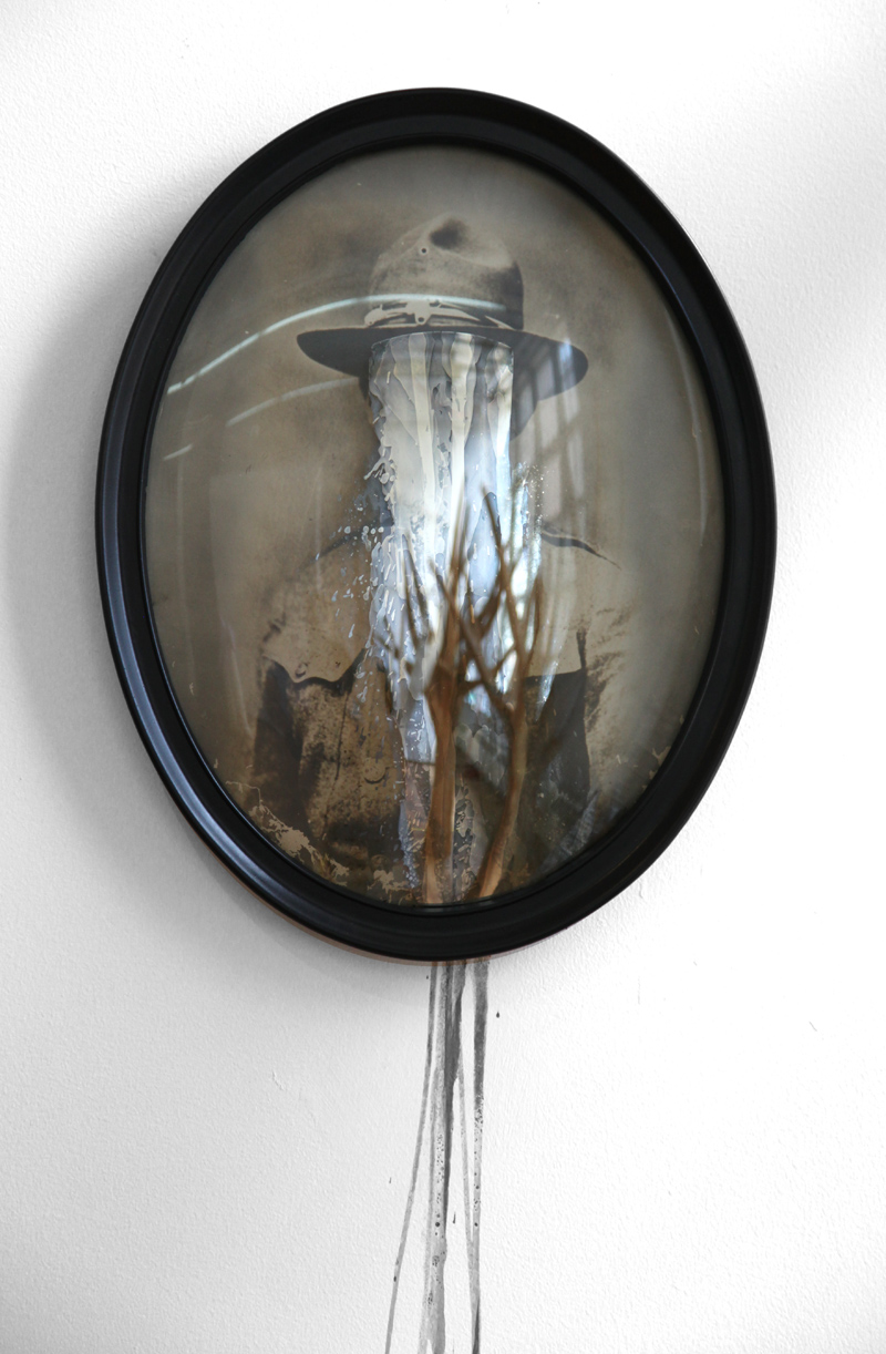 Lost Identity Series, silver nitrate on glass, antique fire treated frame, 2013