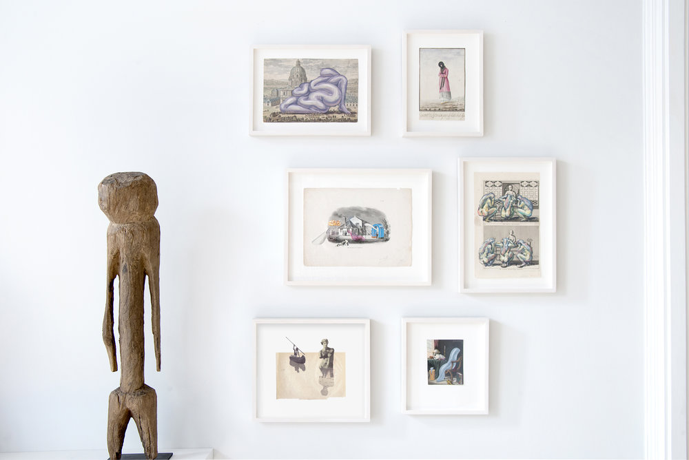From left : Tchitchiri Sakab Figure, Moba, Ghana, West Africa, Early 20th century, wood 89 x 15 x 15 cm;  Monumentum after Jeff Koons' Balloon Sculpture , 2016-oil on antique engraving- 35.5 x 25.5 cm;  Signora di Catania , 18 c, antique watercolor, 14.5 X 23 cm;  The Murdered Poet , 2016, collage on antique engraving, 42 X 25 cm;  Automne Malade , 2016, oil on 18 c. engraving, 20 x 33 cm;  Sailed a Swan a Dying Siren , 2016, collage, 25.5 x 33;  Lawless Boy , 2016, oil on antique hand-colored engraving 30.5 x 26.5 cm  photo credit: Victor Garzon