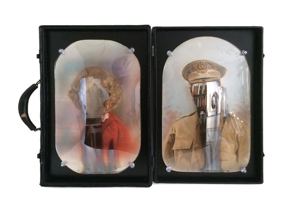"Civilization and its Discontents,  18.5 x 24.5"", silver nitrate on glass, antique portraits, suitcase"