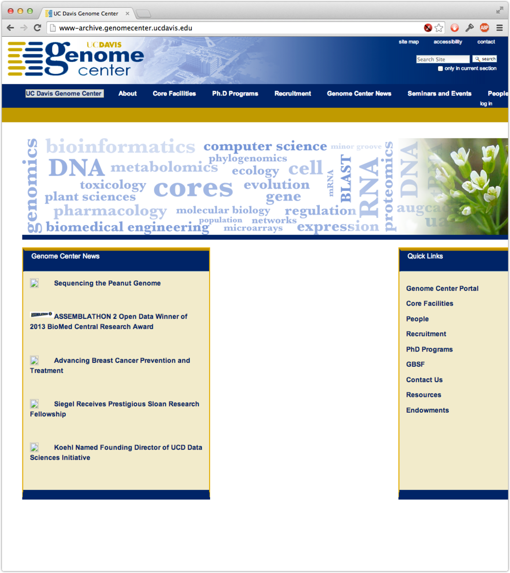 The old Genome Center website…what's with all that whitespace in the middle?