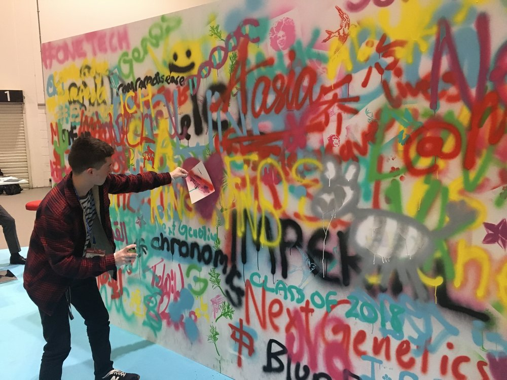Graffiti wall at the Festival of Genomics