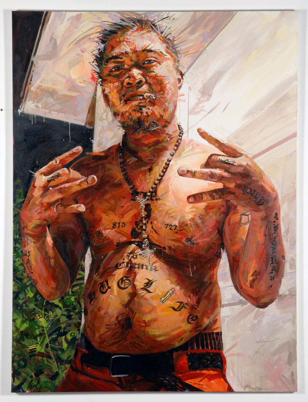 "MICHAEL VASQUEZ  ""This Is Ours - Ro"" 2008  oil on canvas  96 x 72"""
