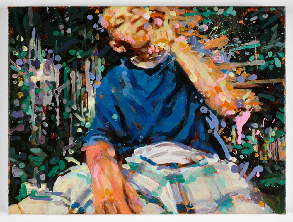 """MICHAEL VASQUEZ  """"Truce Talk 1"""" 2008  acrylic on canvas  16 x 20"""""""