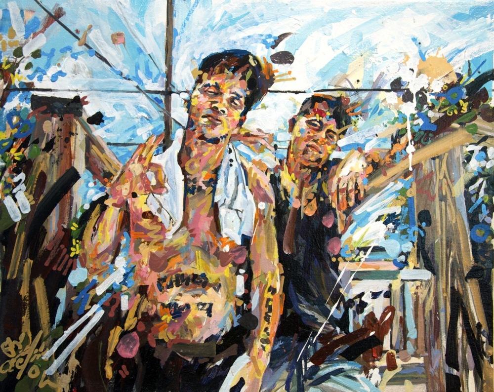 "MICHAEL VASQUEZ  ""Back Yard Snap Shot"" 2011  acrylic on canvas  16 x 20"""